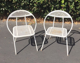 Set of Two (2) Vintage Mid Century Salterini Patio Chairs by Rid-Jid, MCM Folding Patio Chairs, Mid Century Modern Hoop Chairs, MCM Chairs