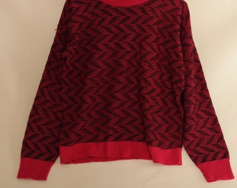 80s Vintage Hot Pink Acrylic Knit Sweater Geometric Pattern, Vintage Knit Sweater, Hot Pink Sweater, New Wave Sweater, 80s Geometric Sweater