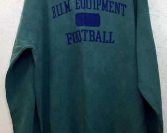 90s Vintage B.U.M. Equipment Football Big Logo Crewneck Pullover Sweatshirt, Oversized Baggy Vintage 90s Streetwear Forest Green Sweatshirt