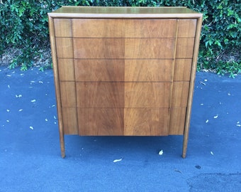 Mid Century Modern High Boy Dresser Parallel Collection by Barney Flagg for Drexel, MCM Sculpted Tall Chest of Drawers, Danish Modern Hiboy