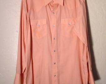 Vintage Mens Western Dress Shirt, Mens Long Sleeve Button Up, Vintage Long Sleeve Button Down, Vintage Peach Pink Shirt, Cowboy Shirt