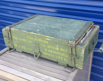 Vintage Soviet Russian USSR wood ammunition box military army ammo box