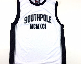 90s Vintage SouthPole Basketball Jersey MCMXCI (1991) White & Black Trim XL, 90s Streetwear, 90s Hip Hop Clothing, 90s Vintage Mens Fashion