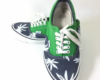 Vintage Vans Era Palm Trees Hemp Weed Navy Blue Green Off The Wall Size 10 Mens