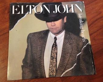 Elton John - Breaking Hearts Vintage Vinyl Record Album LP 33 RPM, Rock Vinyl, Rock Record, 80s Vintage, 80s Vinyl, 80s Record, Pop Rock