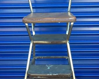 Vintage Mid Century Modern Cosco Chrome and Brown Vinyl Kitchen Flip Step Stool Chair