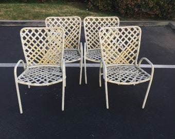 Set of Four (4) White Brown Jordan Tamiami Patio Chairs, Vintage Garden Chairs, Mid Century Modern Backyard Chairs, Outdoor Chair, MCM Chair
