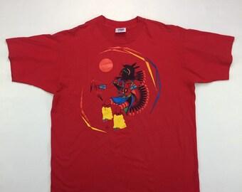 80s Vintage Tiger Native American Dancer Graphic Tee Shirt X Large, 80s Vintage Single Stitch Shirt, 80s Vintage Tribal Dancer Tee Shirt XL