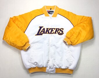 Vintage Los Angeles Lakers Nike Snapbutton Satin White Gold Purple Puffy Jacket XXL, Vintage Nike Jacket, Vintage Lakers Jacket, Kobe Bryant