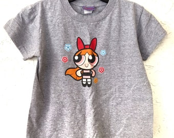 "Early 2000s Vintage Cartoon Network Power Puff Girls ""Blossom"" Baby Tee Shirt, T Shirt, Graphic T-Shirt"