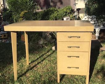 SOLD Mid Century Modern Blonde Single Pedestal Small Office Desk or Vanity Desk, Vintage Writing Desk, Retro Computer Desk, Mid Mod Vanity,