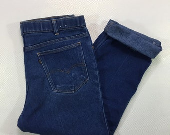 70s Vintage Levis Black Tab Medium Rise Medium Blue Denim Straight Leg Jeans 38 x 30, Vintage Levis Jeans 38, Vintage Levis Black Gold Tab