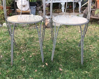 Vintage Rustic Pair of Patio Chairs, Set of Two Mid Century Outdoor Chairs, Metal Garden Chairs, Metal& Wood Bistro Chairs, Parlor Chairs
