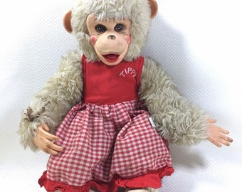 Vintage Rushton Tippy Girlfriend of Zippy the Chimp Doll Howdy Doody Show Plush Rubber Face Stuffed Monkey, Vintage Zip Chimp Plush Monkey