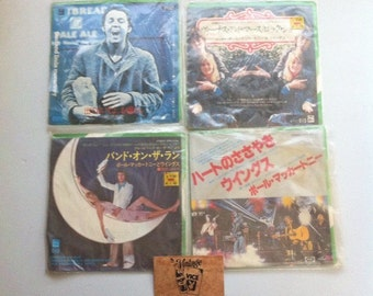 Lot of Wings Band Japanese Import 45 Vinyl Record, Vinyl Records Sale, The Beatles, 70s Music Vinyl Record, Paul McCartney, Linda McCartney