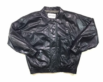 Vintage Pierre Cardin Black Leather Soft Lambskin Bomber Jacket Mens 44 XL, Vintage Black Leather Jacket, Vintage Leather Bomber Jacket XL