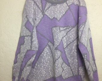 NWOT 90s Vintage Purple Gray Geometric Pattern Pull Over Sweater by Adele, 80s Grandma Sweater, Vintage Lavender Grey Acrylic Knit Sweater