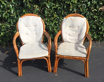 Set of Two (2) Vintage Bohemian Bamboo Accent Chairs, Pair of Two (2) Vintage Boho Chic Rattan Dining Chairs, Wicker Garden Patio Chairs