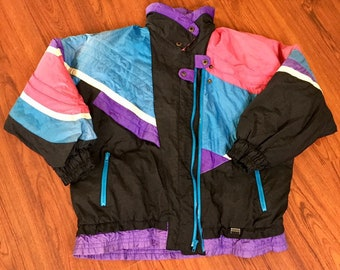 90s Vintage Otello Pelle Oversized Black Purple Blue Pink White Color Block Puffer Jacket, Vintage Puffy Jacket, Vintage Ski Jacket, 90 Coat