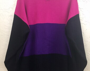 NWOT 90s Vintage Purple Pink Black Color Block Pull Over Sweater by Custom Design, 80s Grandma Sweater, Vintage New Old Stock Sweater