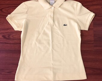 Vintage Lacoste Yellow Polo Shirt Made in France 38, Yellow Lacoste Womens Polo Small, Vintage Preppy Lacoste Pique Polo, Vintage Lacoste Sm