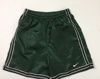 NWOT 90s Vintage Nike Forest Green Striped Satin Silky Glanz Soccer Shorts Mens Small, 90s Vintage Nike Wet Look Nylon Athletic Soccer Short