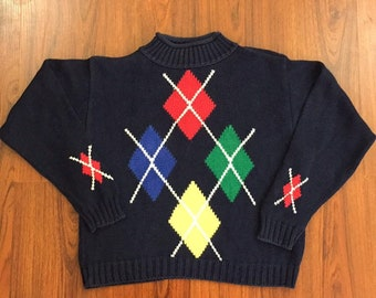 90s Vintage Liz Claiborne Sport Argyle Pull Over Navy Blue Knit Moc Turtle Neck Cropped Sweater Petite Small, 90s Vintage Cropped Sweater S