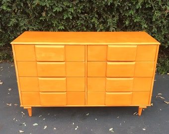 Mid Century Modern Double Dresser in the Style of Heywood WaKefield Sculptura, Mid Century Chest of Drawers, Mid Century Modern Low Boy