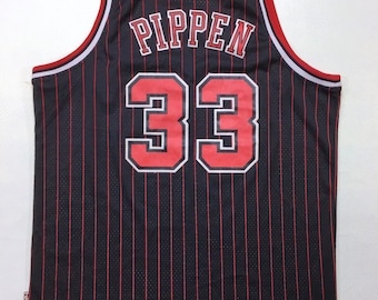 95-96 Vintage Adidas x Hardwood Classics NBA Chicago Bulls Scottie Pippen #33 Swingman Black with Red Pin Stripe Jersey XXL +2 Length