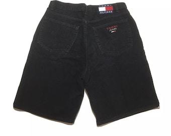 90s Vintage Tommy Hilfiger Black Denim Shorts Tommy Jeans Big Flag Logo Size 38