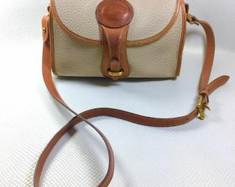 1993 Vintage Dooney & Bourke All Weather Leather Bone British Tan R25 Medium Essex Shoulder Bag, Dooney Bourke Purse, Dooney and Bourke