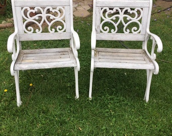 Set of Two (2) Rustic Shabby Chic White Wrought Iron & Wood Patio Chairs, Pair of Two Vintage Garden Chairs, Cast Iron Garden Bench Chairs