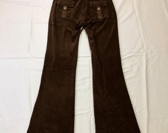 Iconic Y2K Vintage Juicy Couture Brown Velour Sweatpants XS Petite, 90s Vintage Juicy Couture Brown Velour Track Pants, Y2K Velour Joggers