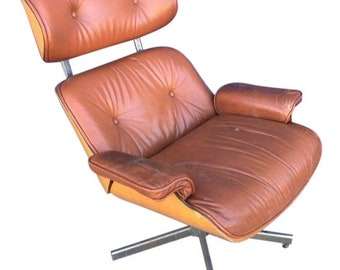 Vintage Mid Century Modern Plycraft Selig Reclining Lounge Chair George Mulhauser, MCM Herman Miller Eames Style Bentwood Leather Arm Chair