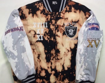 Rare and One of a Kind Vintage Los Angeles Raiders Bleached Tie Dye Distressed Reversible Varsity Jacket XL, LA Raiders Reversible Jacket XL
