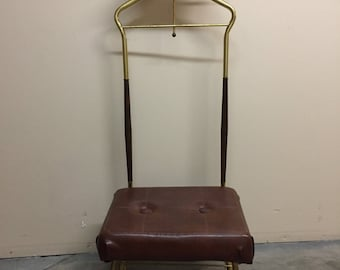 SOLD Mid Century Modern Brass & Walnut Clothing Valet Dressing Rooms Butler Chair by Pearl Wick
