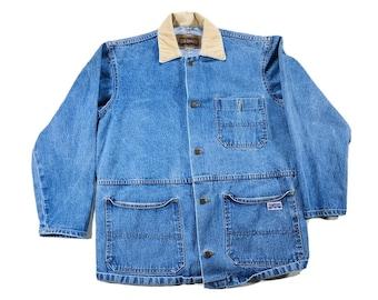 Vintage Big Smith Denim Chore Work Jacket with Corduroy Collar Button Up Size Large, Denim Chore Jacket, Jean Jacket, Jean Corduroy Jacket