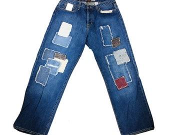 y2K Von Dutch Kustomade Patchwork Selvedge Denim Straight Leg Jeans 38 USA Made