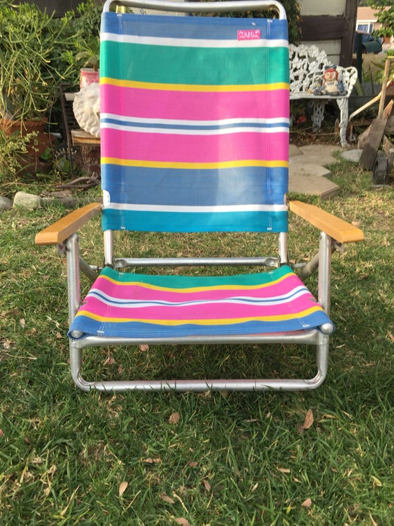 Delicieux 90s Vintage Multi Colored Lawn Chair Collapsible Outdoor | Etsy