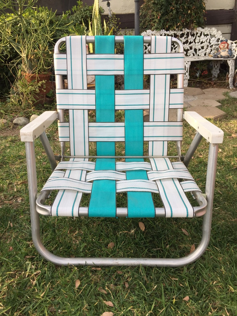 Vintage Teal And White Lawn Chair Collapsible Outdoor Chair Foldable Garden Chair Beach Chair Sand Chair