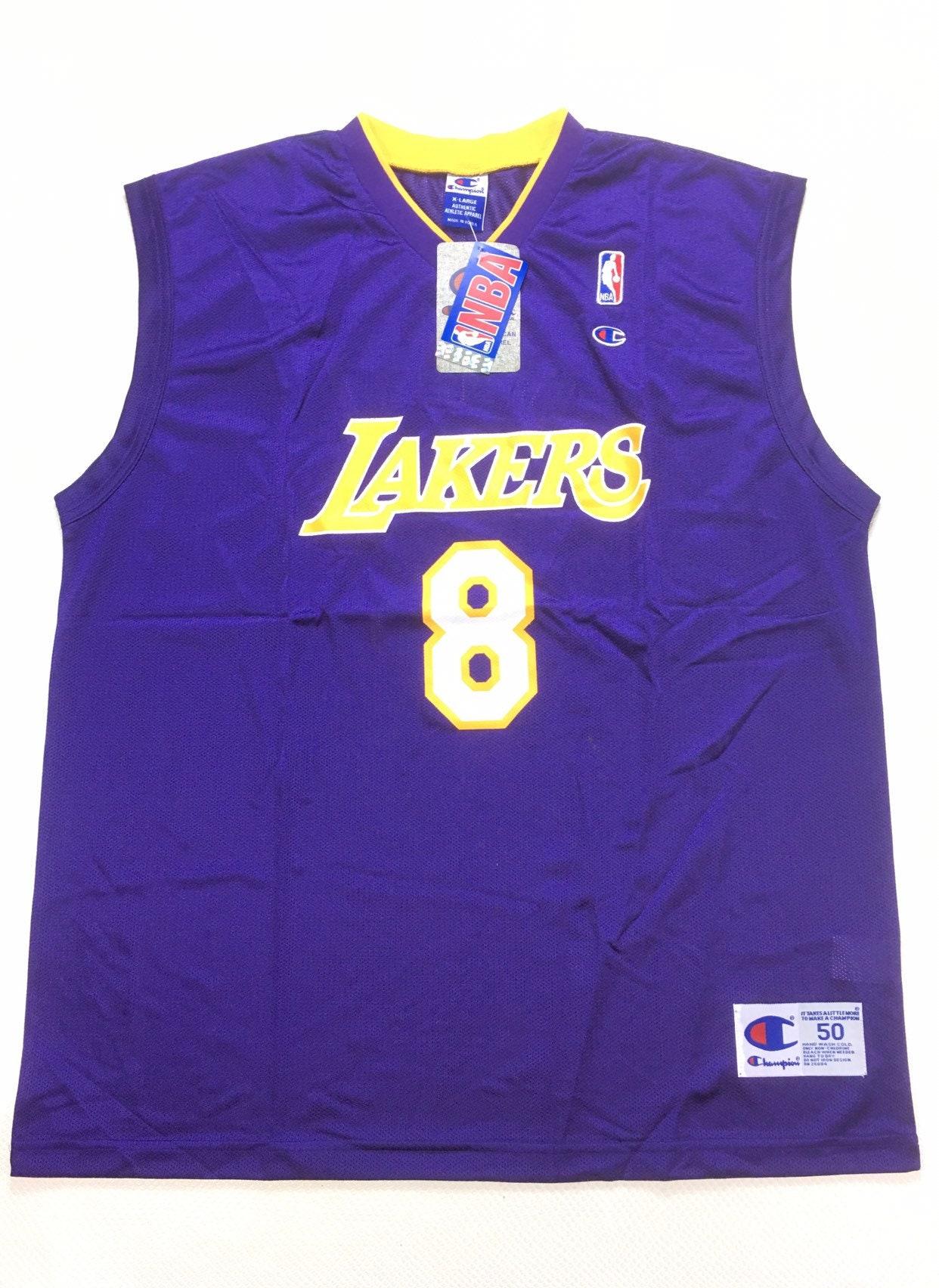New with Tags 90s Vintage Champion Kobe Bryant Rookie #8 Purple Lakers Jersey 50 XL, Original Kobe Bryant #8 Champion Lakers Jersey XL