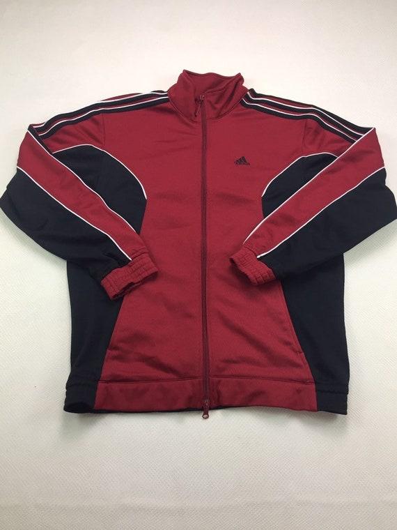 sin obturador De vez en cuando  90s Vintage ADIDAS Red & Black Zip Up Track Jacket Small 90s | Etsy