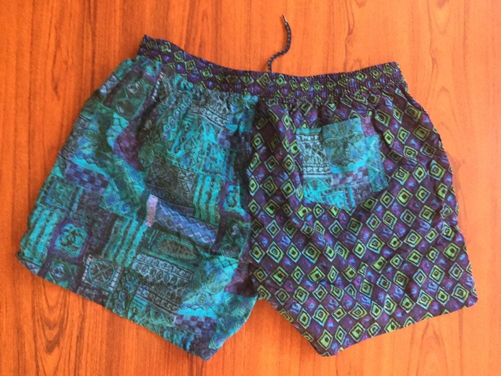 16ae421e13 90s Vintage Speedo Blue Green & Teal Swim Trunks, Vintage Mens ...