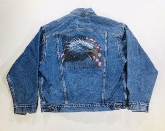Y2k Vintage 90's Levi's L Denim Jacket Trucker Jacket USA Flag Eagle 70507-4890