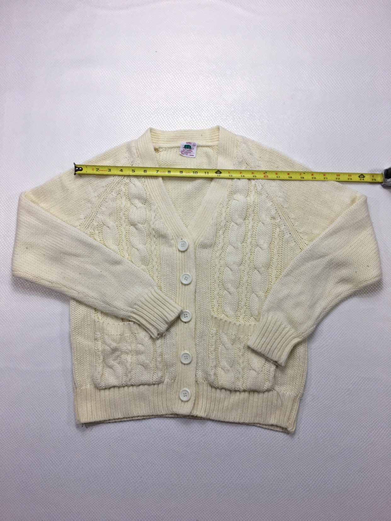Vintage Beige Cardigan Large Mr Rogers Sweater L Chunky Cable Knit Sweater Ribbed Acrylic Knit Cardigan L Beige Button Up Cardigan Large