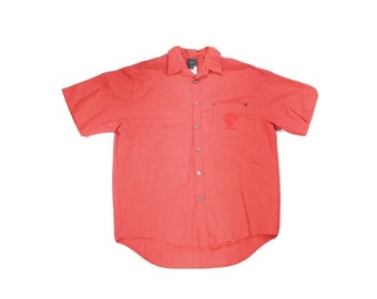 Vintage 90's Versace Jeans Short Sleeve Medusa Red  Button Up Shirt XL Italy, Vintage Versace, Mens Designer Shirt, 90s Versace, Button Up