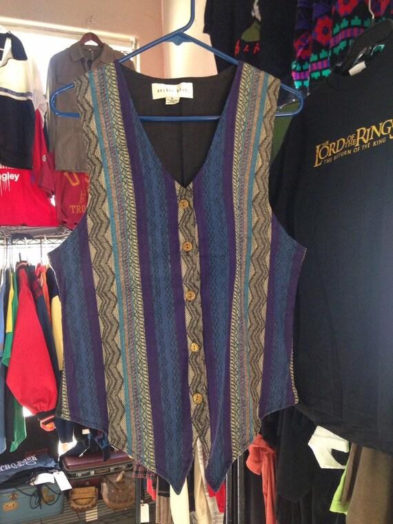 90s Vintage Anchor Blue Tapestry Vest Medium, 90s