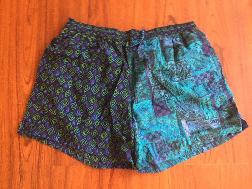 3423224b81 90s Vintage Speedo Blue Green & Teal Swim Trunks, Vintage Mens Swimming  Shorts, Pool Short Shorts, Mens Swimwear