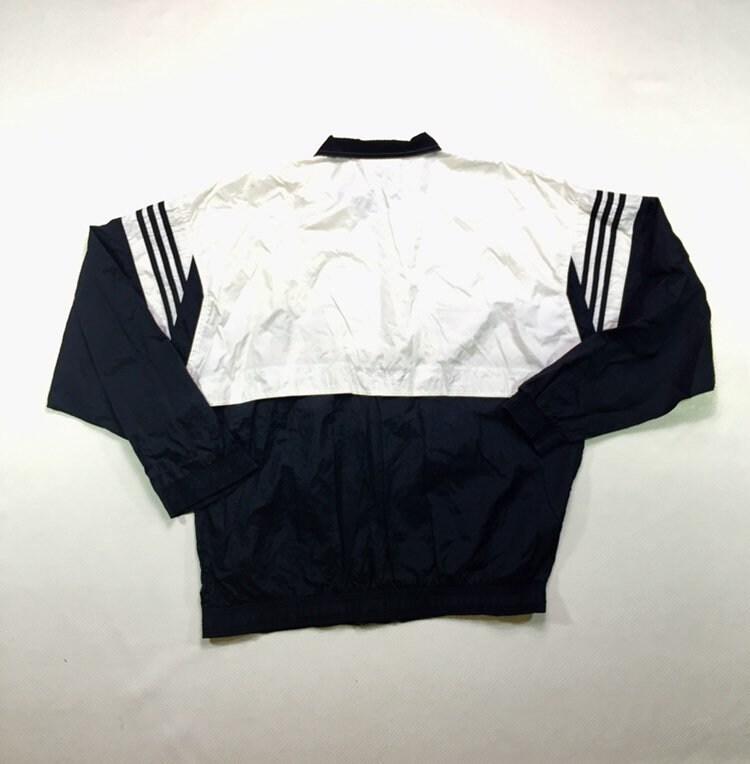 Alaska suelo administración  90s Vintage ADIDAS Spellout Logo Windbreaker Tracksuit Jacket Black White  XL, Vintage Adidas Windbreaker Jacket Xl, 90s Adidas Track Jacket