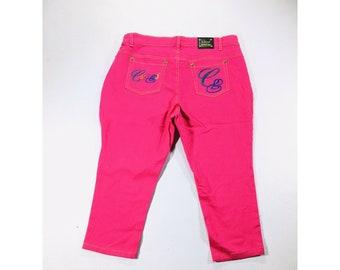 Y2K Vintage COOGI Denim Pink Capri Size 18 Jeans, Urban Streetwear, Hip Hop Jeans, Hot Pink Jeans, Y2k vintage jeans, Vintage carpi jeans